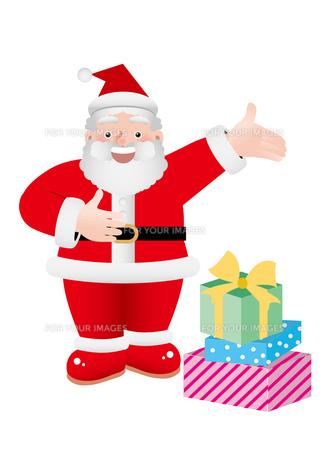クリスマスプレゼントを運ぶサンタクロースの素材 [FYI00118711]