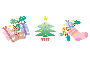 クリスマス素材3種類の写真素材 [FYI00118721]