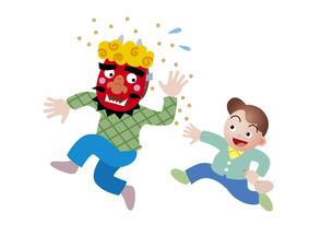 豆をぶつける男の子の写真素材 [FYI00118731]
