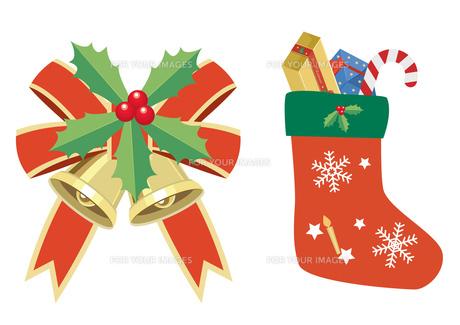 クリスマス ベルとくつ下の写真素材 [FYI00118735]