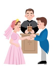 指輪の交換をする新郎新婦の写真素材 [FYI00118773]