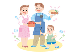 親子で料理の写真素材 [FYI00118898]