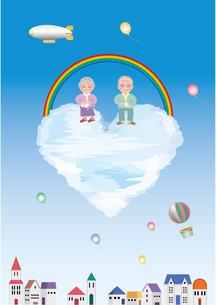 雲の上の老夫婦の写真素材 [FYI00118931]