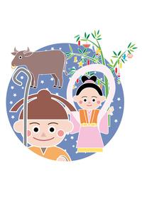七夕 おり姫とひこ星の写真素材 [FYI00119018]