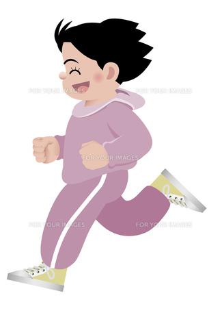笑顔でマラソンをする女性 イラストの写真素材 [FYI00119060]