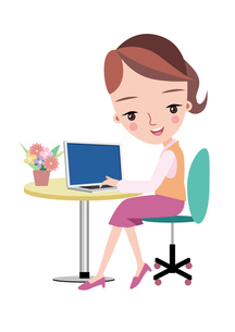 デスクワークをする女性社員 イラストの素材 [FYI00119062]