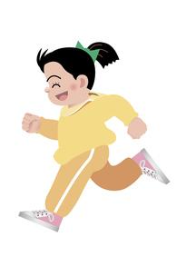 笑顔で走る女の子の写真素材 [FYI00119071]