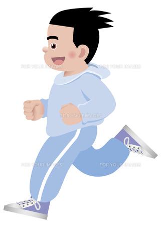笑顔でマラソンをする男性 イラストの写真素材 [FYI00119072]