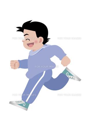 笑顔で走る男の子の写真素材 [FYI00119076]