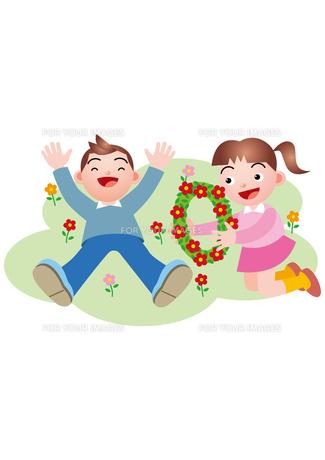 花畑で遊ぶ兄妹の写真素材 [FYI00119197]
