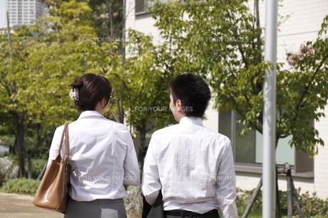 並んで歩くビジネスマンとビジネスウーマンの後ろ姿の素材 [FYI00119216]
