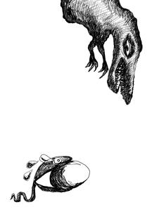 恐竜の卵をくわえて逃げるヘビの写真素材 [FYI00119700]