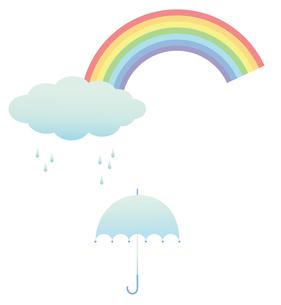 雨上がり 虹 傘の写真素材 [FYI00119817]