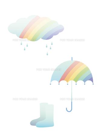 雨 虹 雲 長靴の写真素材 [FYI00119827]