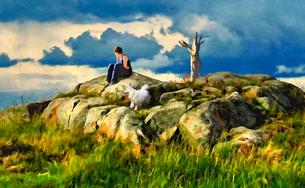 岩の上のスピッツと女の写真素材 [FYI00120437]