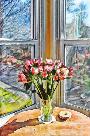 窓辺の花の素材 [FYI00120458]