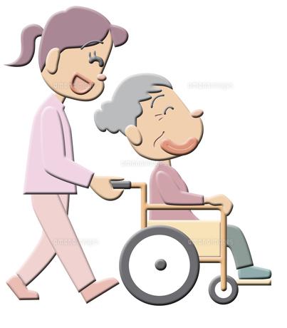 車椅子のおばあさんの素材 [FYI00120536]