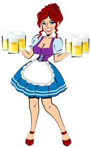 ビールを運ぶウエートレスの写真素材 [FYI00120561]
