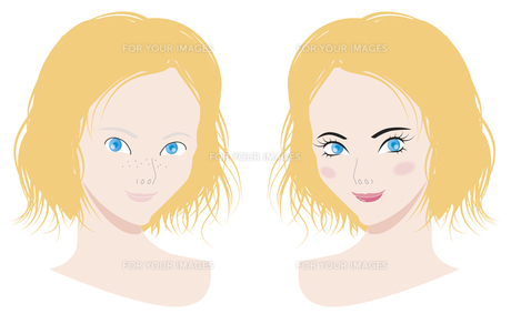メイクでキレイに変わる女性の写真素材 [FYI00120599]