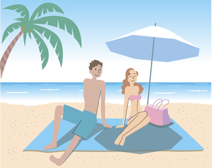海辺でデートをするカップルの写真素材 [FYI00120665]