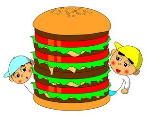 ハンバーガーと子供の写真素材 [FYI00123289]