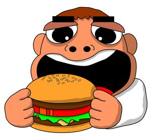 ハンバーガーを食べるの写真素材 [FYI00123380]