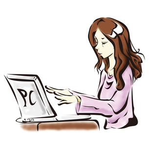 色付きノートパソコンを使う女性の写真素材 [FYI00123751]