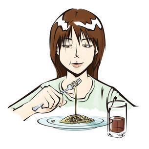 スパゲッティを食べる女性の写真素材 [FYI00123771]