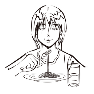 スパゲッティを食べる女性の写真素材 [FYI00123786]