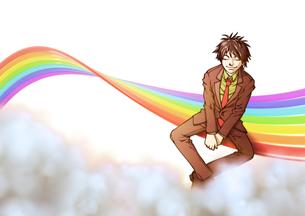 虹と男の写真素材 [FYI00124505]