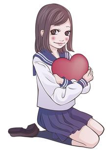 ハートを抱えた女子学生の写真素材 [FYI00124513]