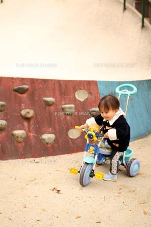 公園で三輪車の練習の素材 [FYI00124534]