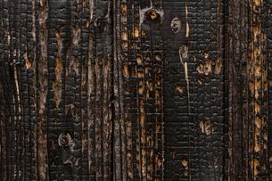 きれいな木目の焼き杉板壁の写真素材 [FYI00124929]