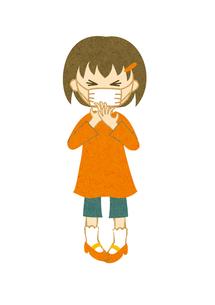 マスクをしてくしゃみをする子供の写真素材 [FYI00125948]