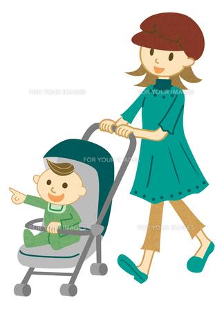 ベビーカーを押して散歩する女性の写真素材 [FYI00125956]