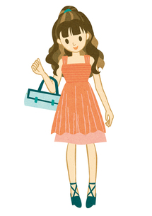 ピンクのドレスを着て微笑む女性の写真素材 [FYI00125958]