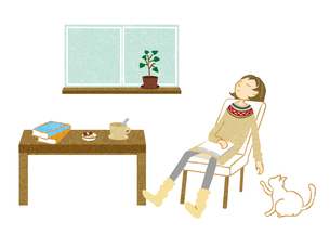 居眠りする女性の素材 [FYI00125972]