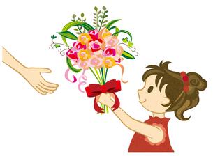 花束を渡す女の子の写真素材 [FYI00125985]