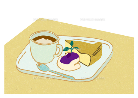 チーズケーキのケーキセットの写真素材 [FYI00125986]