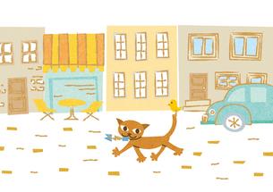 街を散歩する猫の素材 [FYI00125990]