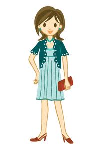 青いドレスを着た女性の素材 [FYI00125996]