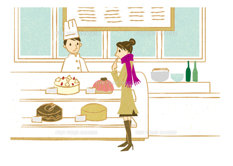ケーキショップで買い物する女性の素材 [FYI00125997]