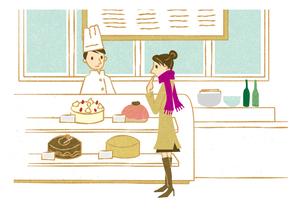 ケーキショップで買い物する女性の写真素材 [FYI00125997]