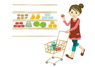 スーパーで買い物する女性の素材 [FYI00126001]