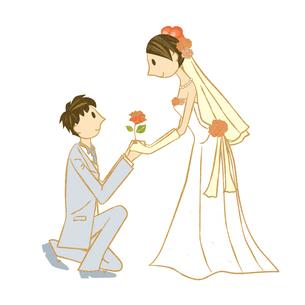 新婦にプロポーズする新郎の素材 [FYI00126002]