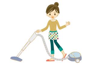 掃除機をかける主婦の素材 [FYI00126011]
