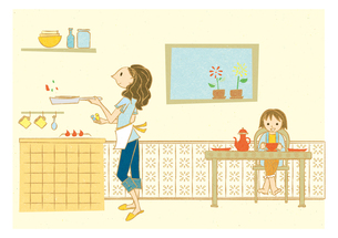 ダイニングキッチンで料理する女性と子供の写真素材 [FYI00126016]