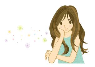 ほおづえをついて微笑む若い女性の素材 [FYI00126031]