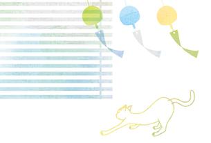 風になびく風鈴と猫の素材 [FYI00126036]