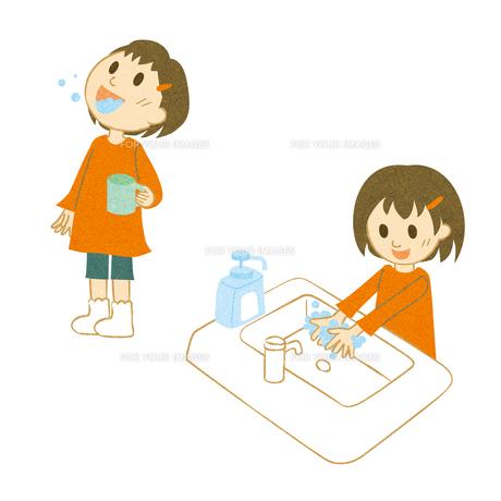 うがい手洗いをする子供の写真素材 [FYI00126045]